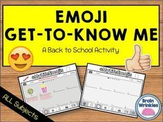 "This activity is a fun spin-off of the popular social media emojis that most (if not all) students are familiar with. Your students will be excited to complete this activity! The students will create new emojis that represent different aspects of their lives. (There is a ""key"" included so that the students know what to write/draw in each section.)*This file is just a small sample of my complete Back to School Resources for BIG KIDS pack."
