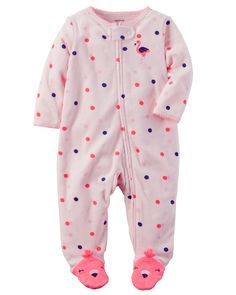 Baby Girl Terry Zip-Up Sleep & Play | Carters.com
