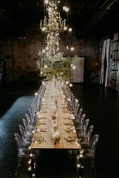 If you were wondering what Heaven looks like, we're pretty sure it's close to this industrial dinner party for creatives designed by Jove Meyer Events. We're not sure where the babies breath clouds start and the crystal chandeliers end, but one thin Budget Wedding, Wedding Blog, Destination Wedding, Wedding Venues, Wedding Planning, Dream Wedding, Wedding Ideas, Wedding Hacks, Wedding Tables