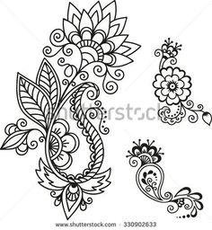 Set of Mehndi flower pattern for Henna drawing and tattoo. Decoration in ethnic oriental, Indian style. Dotwork Tattoo Mandala, Tattoo Henna, Henna Tattoo Designs, Tattoo Sleeve Designs, Henna Art, Mehndi Designs, Sleeve Tattoos, Tiger Tattoo, Star Tattoos