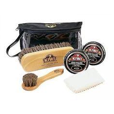 KIWI Black Shoe Boot Shine Care Kit Polish Deluxe clean kicks Gear Brush Leather
