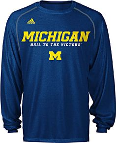 Michigan Wolverines Adidas Heather Blue Climalite Long Sleeve Sidelines Slogan Shirt