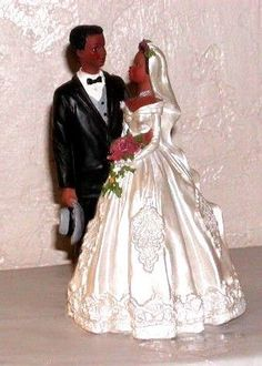 FIGURINE AFRICAN AMERICAN BRIDE & GROOM NEW  FIGURINE  our store link http://stores.ebay.com/store4angels?refid=store come see our store front always have great sales