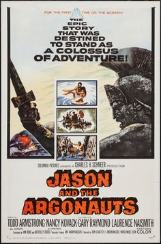 "Jason and the Argonauts (Columbia, 1963). One Sheet (27"" X 41""). Fantasy. Starring Todd Armstrong, Nancy Kovack, Gary Raymond, Laurence Naismith, Niall MacGinnis, Michael Gwynn, Douglas Wilmer, Jack Gwillim, Honor Blackman, John Cairney, Patrick Troughton, Andrew Faulds, Nigel Green, and John Crawford. Directed by Don Chaffey."