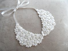 retro collar, peter pan collar necklaces, pendants, jewelry, lace collar, collar wedding, bridal collar, handmade, ivory collar. $20.00, via Etsy.