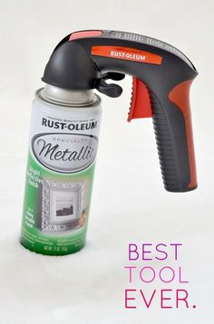 "Best spray paint ""investment"" you will ever make! Spray paint hand gun Saves your finger and helps spray a nice even coat. This is a MUST-PIN! Furniture Makeover, Diy Furniture, Spray Paint Furniture, Spray Paint Diy Decor, Spray Paint Cabinets, Painting Wicker Furniture, Spray Paint Projects, Refinished Furniture, Furniture Refinishing"