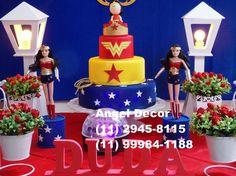 MULHER MARAVILHA decoração mesa bolo aniversário adulto infa