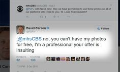 """Want to see how a Pulitzer Prize-winning photographer responds to a request for free images in exchange for """"credit"""" from a major news corporation? You can"""