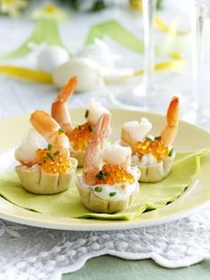 Croustade ricotta crevette oeufs de saumon