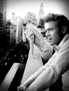 """""""James Dean and Marilyn Monroe at the Chelsea Hotel in New York"""" photoshop by Brailliant, visit www.brailliant.com to view available prints on canvas"""