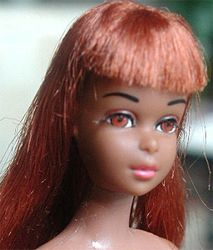 The most valuable Francie doll on the market today - First edition Black Francie Doll made from 1967-1968.  The first version had hair that oxidized to the titian color seen here.  The second version has black hair that did not oxidize.  Both are very rare and highly prized by collectors.