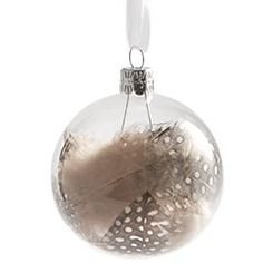 Spotted Feather Glass Ornament