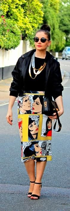 Comic print skirt is very different, but I like it.