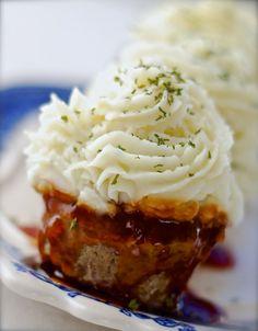 BBQ GLAZED #MEAT & #POTATO #CUPCAKES STUFFED WITH #MOZZARELLA #cheese #cheeses #recipe #food #yummy #recipes