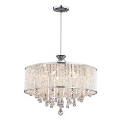 Possible dining room chandelier inches wide DVI Chimera 5 Light Chandelier/Pendant This Chandelier/Pendant by DVI comes in a chrome finish. Works with five halogen bulbs. Capiz Shell Chandelier, Modern Chandelier, Chandelier Lighting, Chandelier Ideas, Crystal Chandeliers, Bedroom Lighting, Home Lighting, Lighting Ideas, Houses