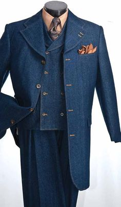 Vittorio St. Angelo Mens Blue Denim Urban Fashion Suit HDM34V IS Size 40