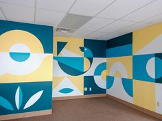 Nest Mural by Parker McCullough Environmental Graphics, Environmental Design, Surealism Art, Creative Wall Painting, Office Mural, Abstract City, Wall Drawing, Mural Wall Art, Chalkboard Art