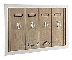 Portallaves de madera y metal Keys, blanco y marrón - 46x29 cm
