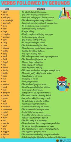 Verbs Followed by Gerunds - ESL Buzz