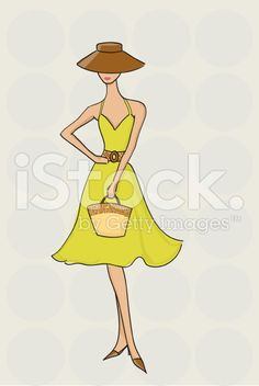 Fashionable Woman in Sun Dress royalty-free stock vector art