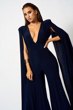 Navy Plunge Front Cape Jumpsuit – Club L London Jumpsuit Hijab, Prom Jumpsuit, Cape Jumpsuit, Formal Jumpsuit, Red Carpet Gowns, Sweet 16 Dresses, Glamour, Classy Dress, Wide Leg Trousers