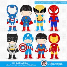 Superhero Cute Digital Clipart / Superhero Clip Art / Superheroes Clipart  for Personal and Commercial Use / INSTANT DOWNLOAD