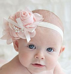 Extra large chiffon rose headband with pearls and bow in soft elastic headband. Perfect for baby photography and special occassions. Condition: New with Tag Material: Chiffon, Faux Pearl, Elastic Band