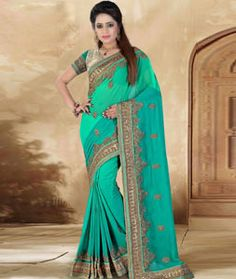 Buy Sea Green Faux Georgette Wedding Saree 73751 with blouse online at lowest price from vast collection of sarees at…