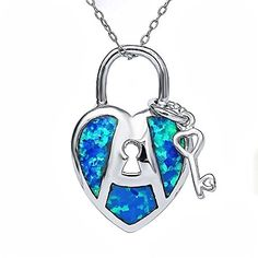 925 Sterling Silver Created Opal Key And Lock Heart Pendant Necklace (17X22MM, With 18 Inch Silver Chain). EXCELLENT GIFT - This Created Opal Heart Shape Lock Pendant With Small Key is an excellent gift for Anniversaries, Brides, Wedding Party, Holiday, Graduations, Birthdays, or just as a surprise to remind that special someone how much you care. It brings an elegant and graceful look to any special occasion. MEASUREMENT - Pendant: 17mm x 22mm Crafted in 925 Sterling Silver With an 18 Inch…