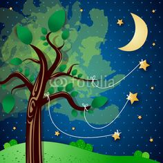 #Tree and #stars, #vector #stockimage