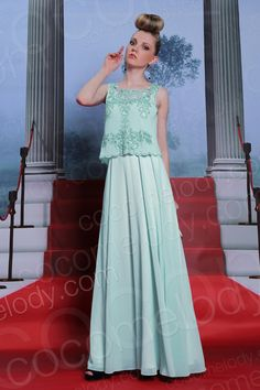Sweet A-Line Bateau Natural Floor Length Chiffon Green Sleeveless Side Zipper Wedding Guest Dress with Beading COSF1500A  #bridesmaiddress #cocomelody