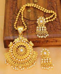Lovely Gold Plated White colour Pendant set