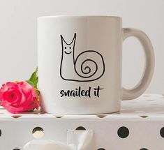 Snaild it Mug #UniqueMug #CuteMug #Snail #NailedIt #Ad #Coffee #HotCocoa #Mug #Morning #Breakfast #Funny #Humor #FunnyMug #Pun
