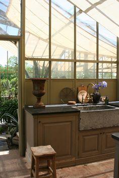 greenhouse potting area . stone trough sink . dark stone work surface . AJF Design