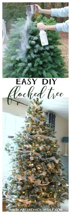 How to put ribbon garland on a christmas tree ribbon garland diy flocked tree artsychicksrule flockedtree diyflocked solutioingenieria Image collections