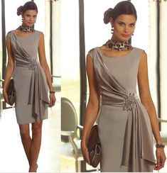 Modest Plus Size Short Mother Of the Bride Dresses Sheath With Scoop Neck Cap Sleeve Beaded Wedding Groom Party Evening Gowns Silver Simple Short Mother Of Bride Dresses Jewel Neck Chiffon Vestidos Knee Length Formal Cheap Weddings A Line M Mob Dresses, Trendy Dresses, Modest Dresses, Elegant Dresses, Plus Size Dresses, Beautiful Dresses, Short Dresses, Fashion Dresses, Formal Dresses