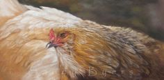Matilda is a dancer, but then again, that's probably obvious. She has grace and style and her costume is always pristine. Go ahead, put the music on, you'll see what I mean.  12 x 24 pastel painting by Sandy Byers.  (chicken, hen, farm animal)