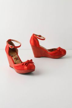 """Scarlet & Crimson Wedges: Suede and smooth leather uppers, synthetic sole and 3.5"""" wooden platform heel."""