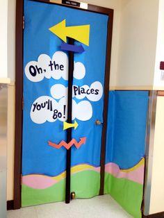 Pin By Liz Dufner On Kindergarten Classroom Door School Doors Dr. Seuss, Dr Seuss Week, Classroom Door, Kindergarten Classroom, Classroom Themes, Pre K Graduation, Kindergarten Graduation, Graduation Ideas, Class Door