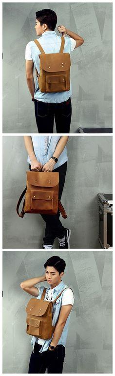 "Roll Top Genuine Leather Backpack Travelling Backpack Weekend Bag MG31 Model Number: MG31 Dimensions: 15.3""L x 9.8""W x 15.3""H / 39cm(L) x 25cm(W) x 39cm(H) Weight: 3.9lb / 1.8kg Hardware: Brass Hardwa"