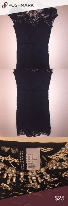 Black lacy dress Lace dress, princess neckline. Worn once for my birthday. Dress is fitted. Very sexy. Dresses