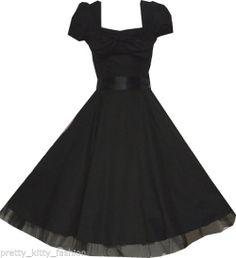 Tea Swing Dress 50s Black Cocktail Prom Rockabilly Vintage Prom Party 6-18