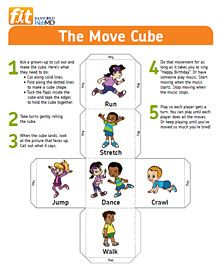 The move Cube, fun way to get those kids to move their bodies this winter! - or make this yourself with blocks/dice or cards Pe Activities, Gross Motor Activities, Movement Activities, Gross Motor Skills, Activity Games, Physical Activities, Physical Education, Special Education, Yoga For Kids