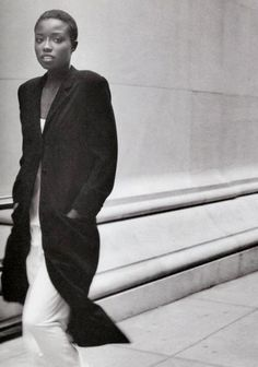 Lorraine Pascale Harper's 1994 -- long coat & maxi dress #style Fashion #90s #editorial #magazine