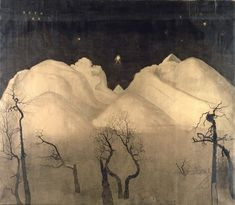 'Winter Night in the Mountains' (1921) by Norwegian Neo-romantic painter Harald Sohlberg (1869-1935). via for the love of art