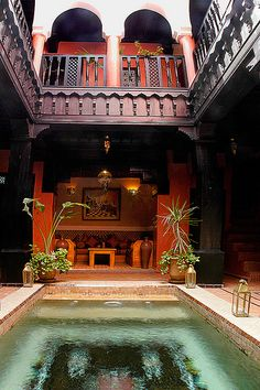 Terrace and pool, Riad Samsli, Riad Marrakech Moroccan Design, Moroccan Decor, Moroccan Style, Moroccan Rugs, Moroccan Bedroom, Modern Moroccan, Moroccan Lanterns, Islamic Architecture, Interior Architecture