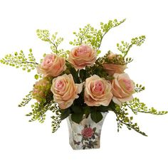 Create a lush tablescape or charming vignette with this lovely faux rose arrangement, featuring richly textured blossoms nestled in a printed planter.