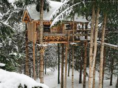 Cabin on stilts. Cute interior photos on site