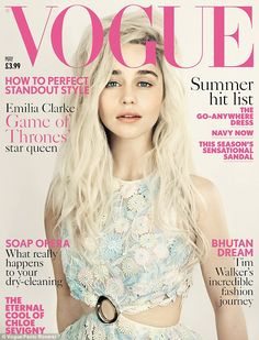 Exciting: Emilia Clarke has graced the front cover of this month's Vogue magazine, channeling her Game Of Thrones alter ego Daenerys Targaryen