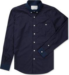 Patrik Ervell Navy Mini Check Button Collar Shirt  | HYPEBEAST Store. Shop Online for Men's Fashion, Streetwear, Sneakers, Accessories